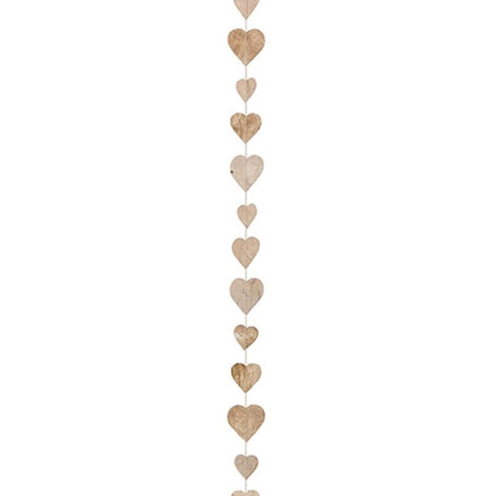 Paper small hearts handmade garland linen color 160 cm