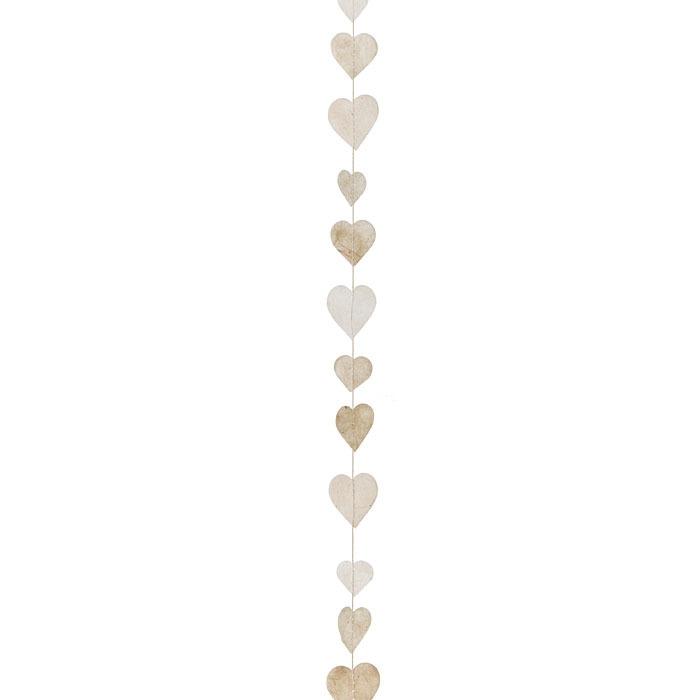 Fil de petites coeurs fait a la main en papier couleur creme 160 cm