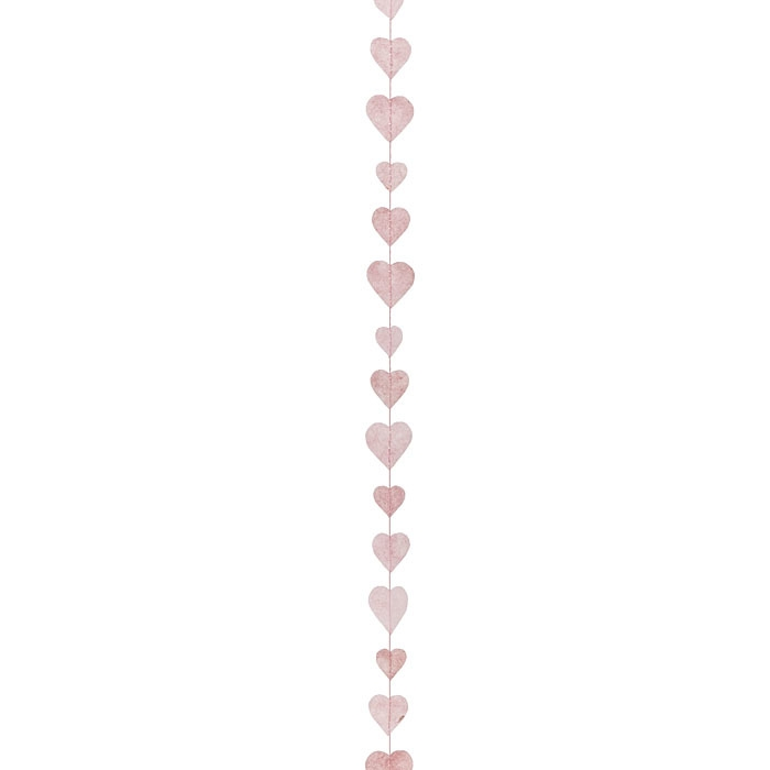 Paper small hearts handmade garland pink color 160 cm