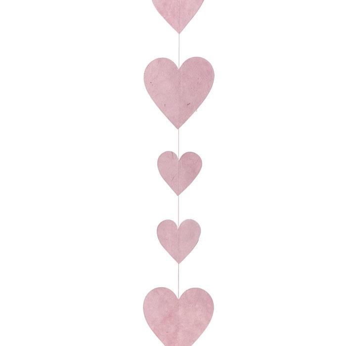 Paper hearts handmade garland pink color 160 cm
