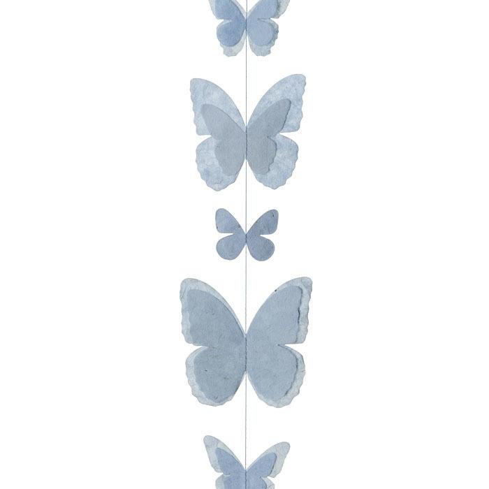 Paper butterflies handmade garland light blue color 160 cm