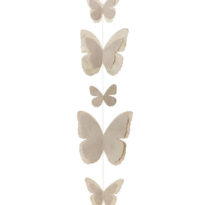 Paper butterflies handmade garland linen color 160 cm