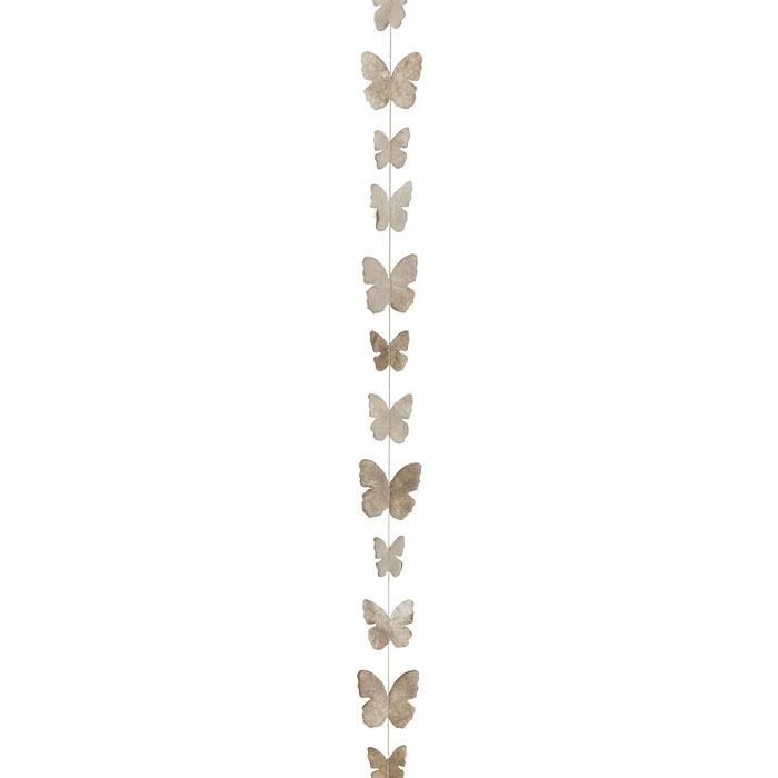 Paper small butterflies handmade garland linen color 160 cm