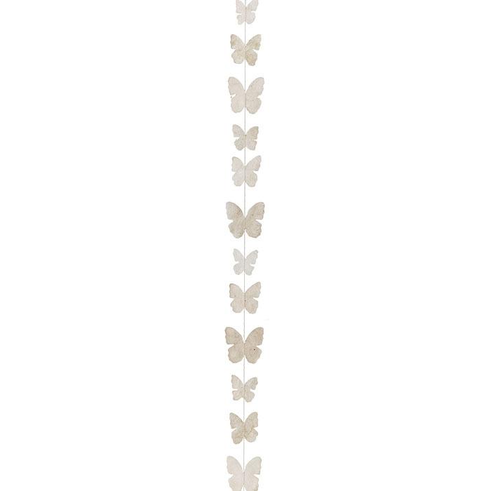Fil de petits papillons fait a la main en papier couleur creme 160 cm