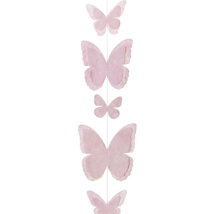 Paper butterflies handmade garland pink color 50 cm