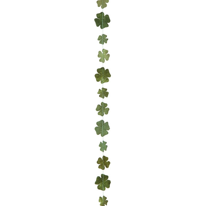 Paper small four-leaf clovers handmade garland green color 160 cm