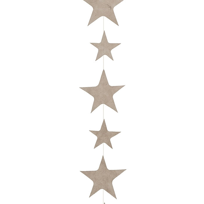 Small stars paper handmade garland linen color