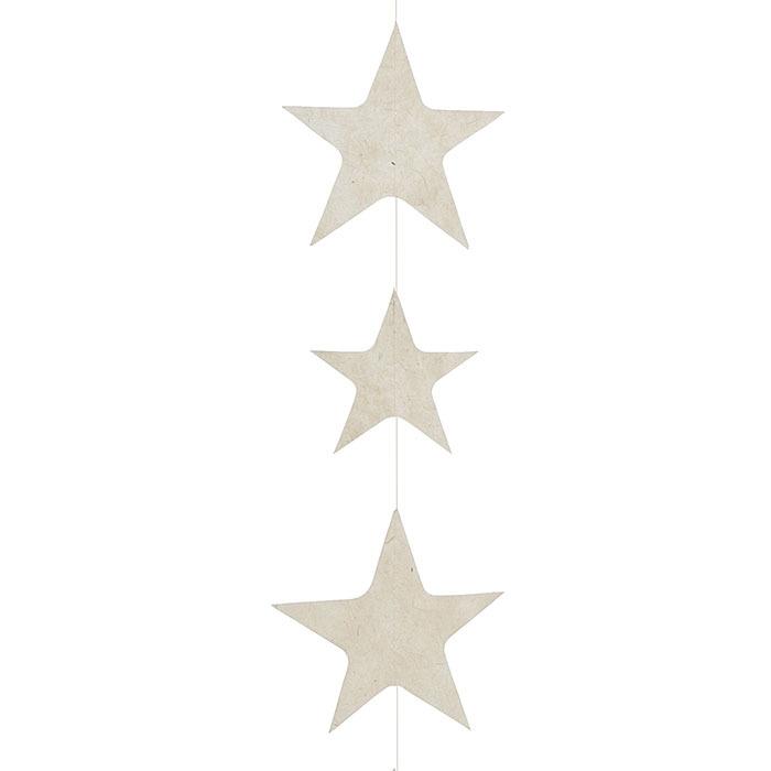 Filo di stelle big in carta colore panna 160 cm
