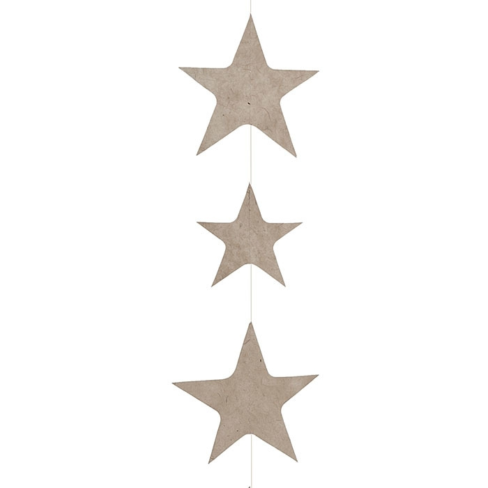 Big stars paper handmade garland linen color 160 cm