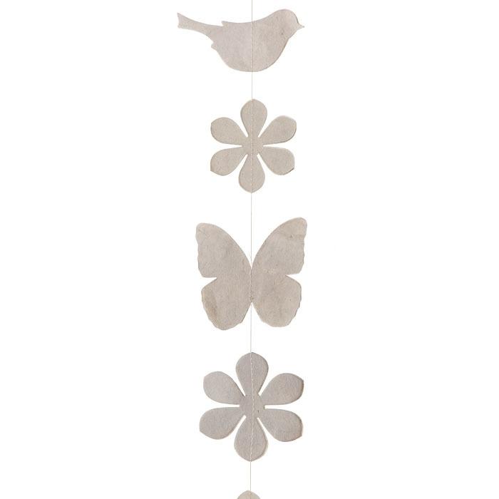 Paper birds/flowers/butterflies handmade garland linen color 160 cm