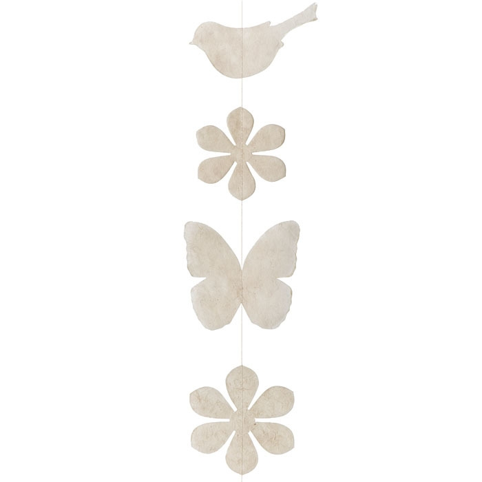 Paper birds/flowers/butterflies handmade garland cream color 160 cm