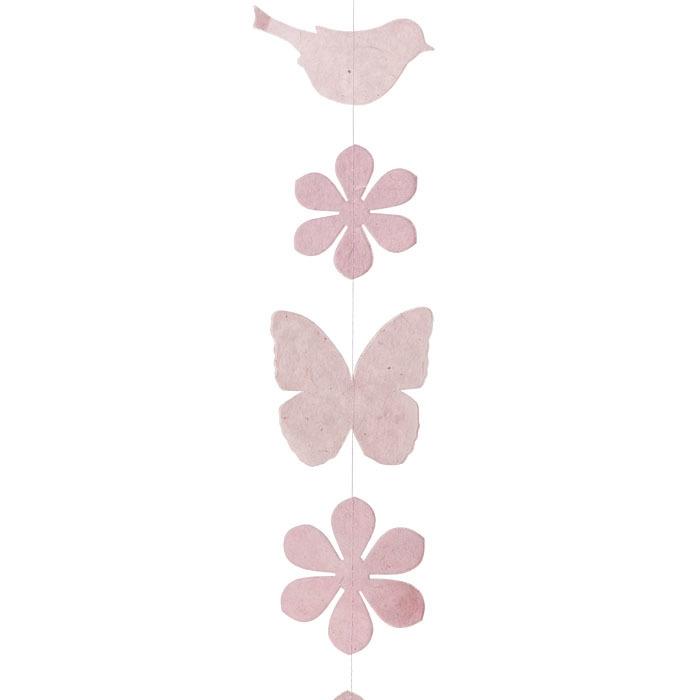 Paper birds/flowers/butterflies handmade garland pink color 160 cm