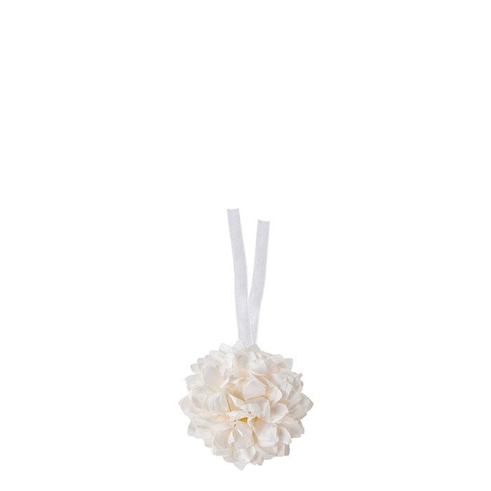Fleur blanc en papier avec ruban d10 cm
