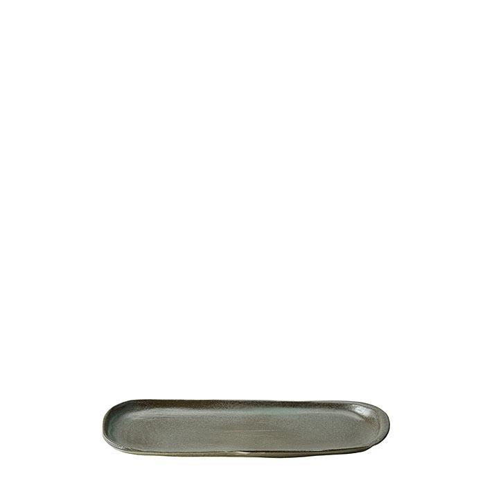 Vassoio ovale in gres nero 12 x 31 cm