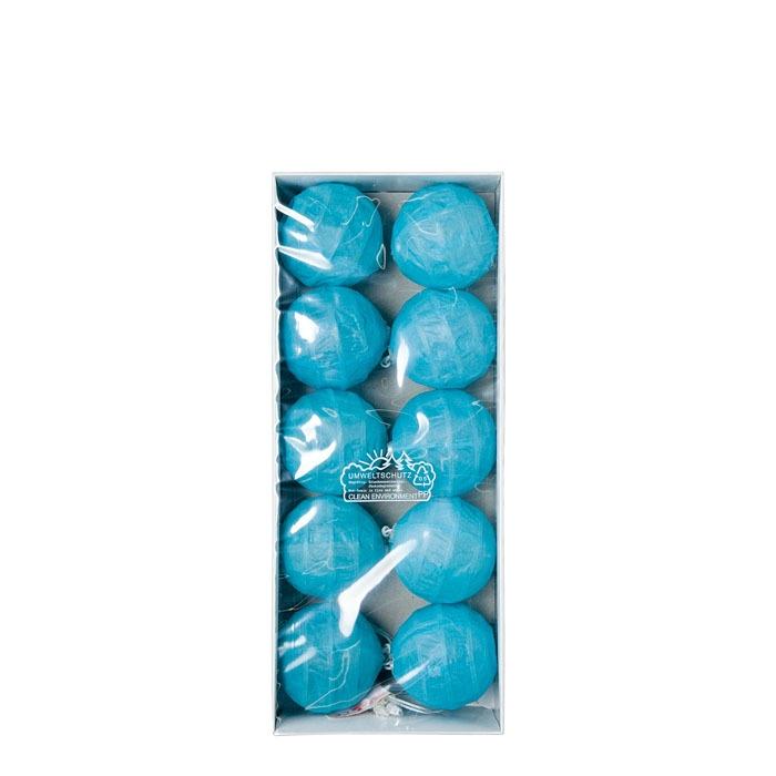 Fil de 10 boules lumineuses en papier couleur bleu clair 380 cm