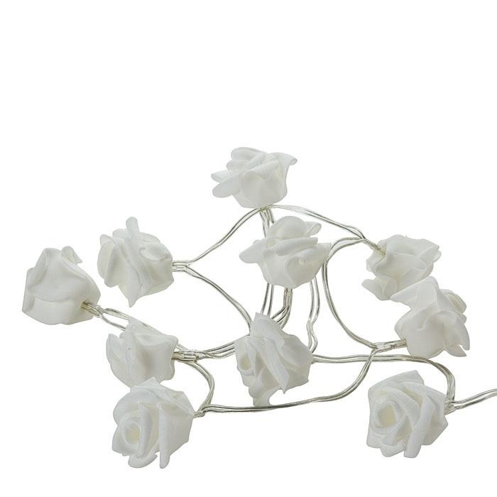 Filo di 10 rose led con batteria 110 cm