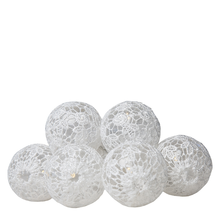 10 white lace spheres wire with battery 225 cm