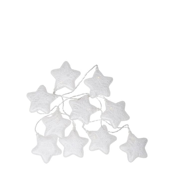 Filo di 10 stelle colore bianco con batteria 180 cm