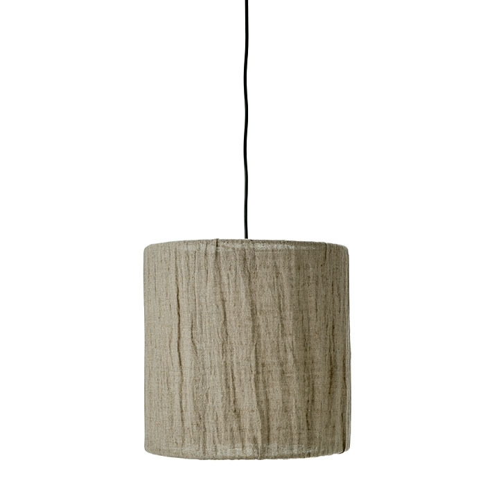 Linen and grey iron hanging lamp d40 h40 cm