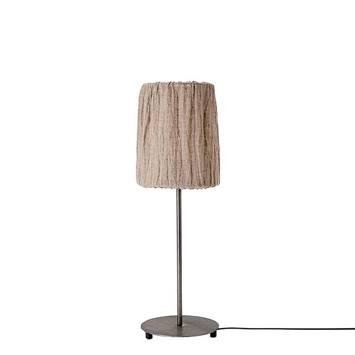Lampada da tavolo lino e ferro grigio h70 cm