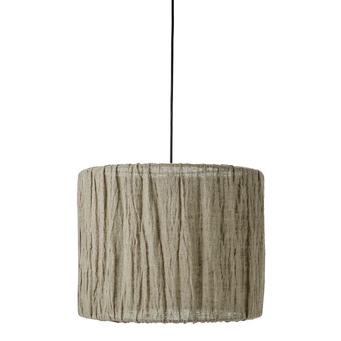 Lampe suspendue en lin et fer gris d50 h40 cm