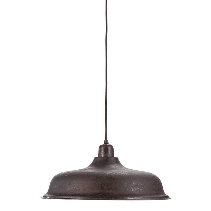 Lampe en metal fonce interieur ivoire d40 cm