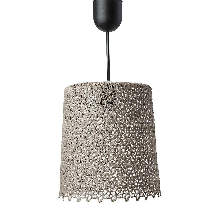 Lampada completa in pizzo colore nocciola d24 h27 cm