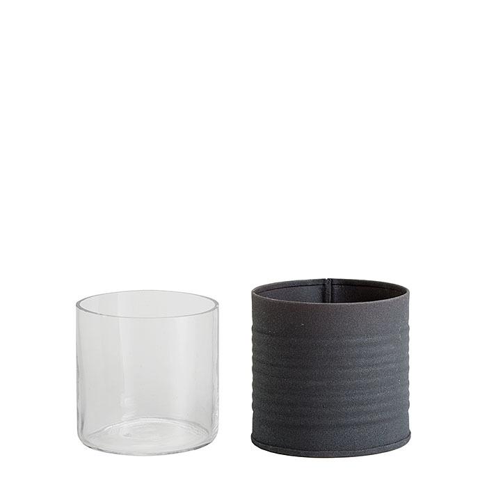 Barattolo nero righe orizzontali con vetro d7 h7 cm