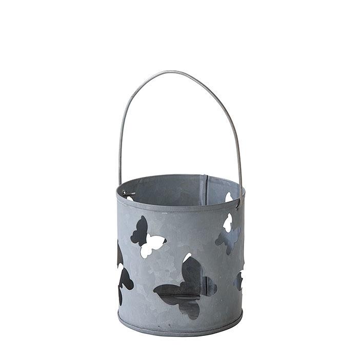 Lanterne en fer blanc motif papillons d8 h8 cm