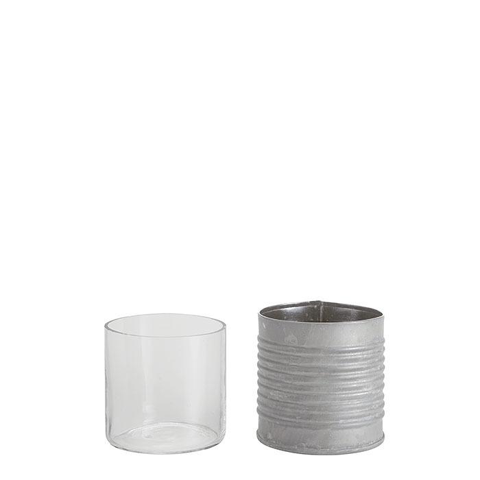 Barattolo in latta righe orizzontali con vetro d7 h7 cm