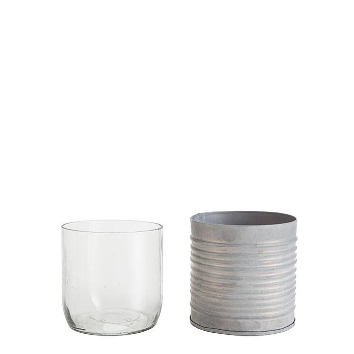 Barattolo in latta righe orizzontali con vetro d8 h8 cm