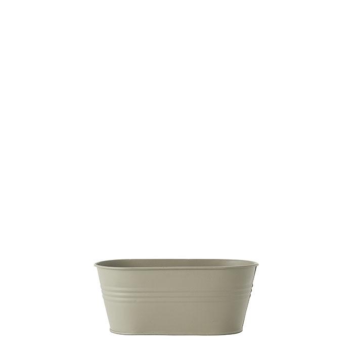 Catino ovale in metallo waterproof colore lino 10.5 x 21.5 h9 cm