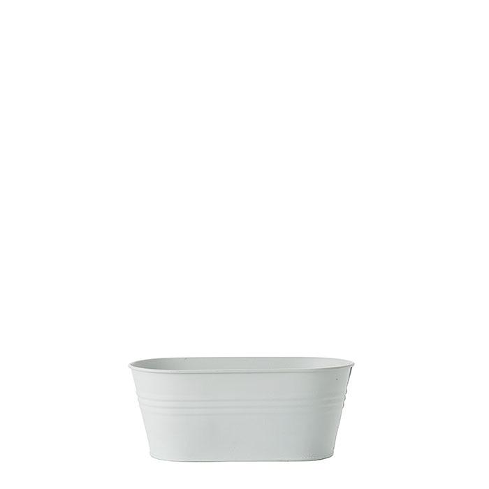 Catino ovale in metallo waterproof bianco 10.5 x 21.5 h9 cm