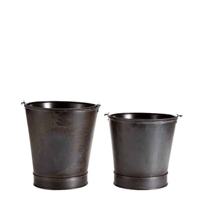 Set 2 secchi in ferro colore nero d24 h23 cm