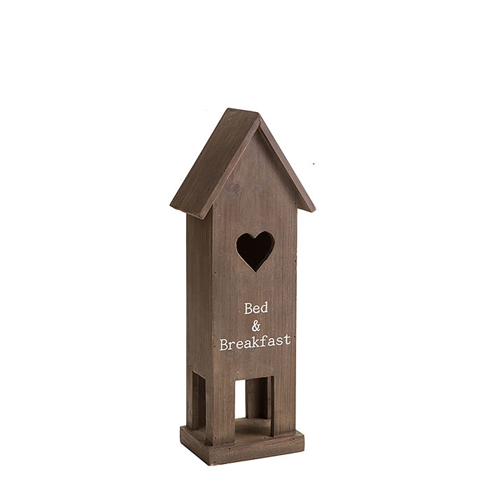 Wooden birdhouse with white insciption