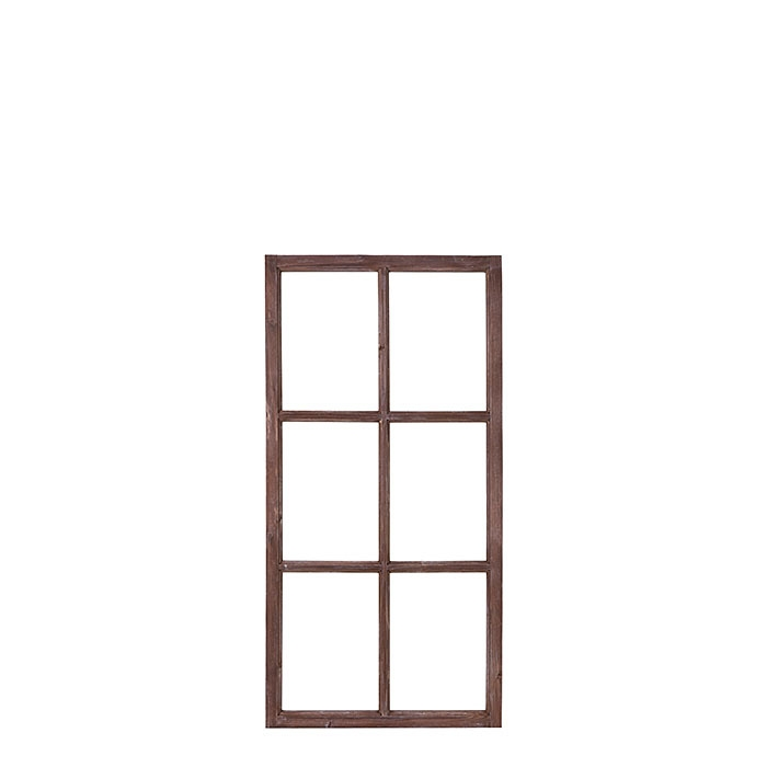 Telaio di finestra espositivo vintage in legno 60 x 120 cm