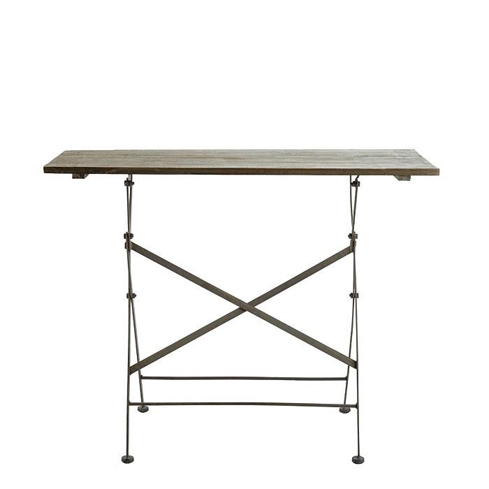 table rectangulaire pliable en bois bistrot et en fer 99 x. Black Bedroom Furniture Sets. Home Design Ideas