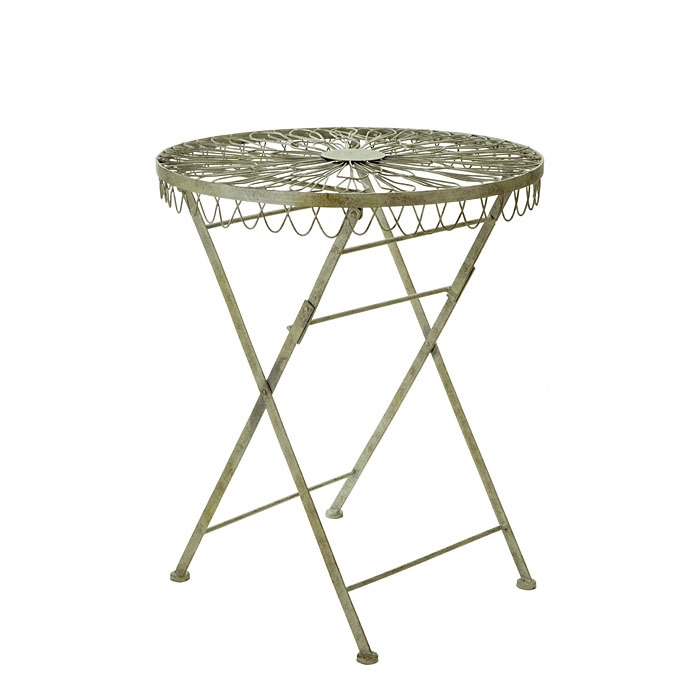 Green inlaid iron table d60 h70.5 cm
