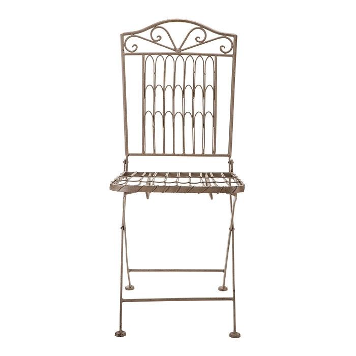 Chaise marquetee grise en fer h96 cm