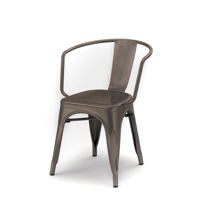 Sedia con braccioli in metallo scuro galvanizzato h83 cm