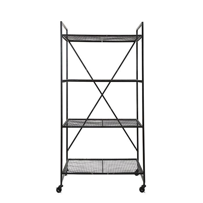 Struttura carrello in ferro a 4 piani colore nero 54 x 79 h155 cm