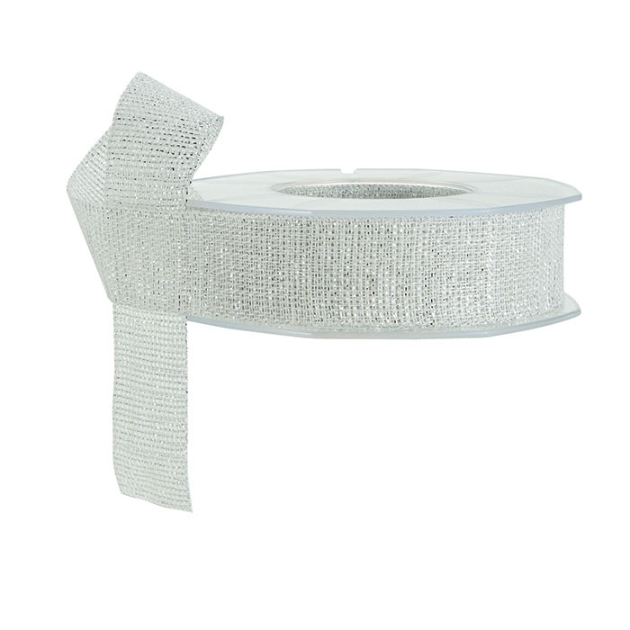 Linen ribbon with silver thread
