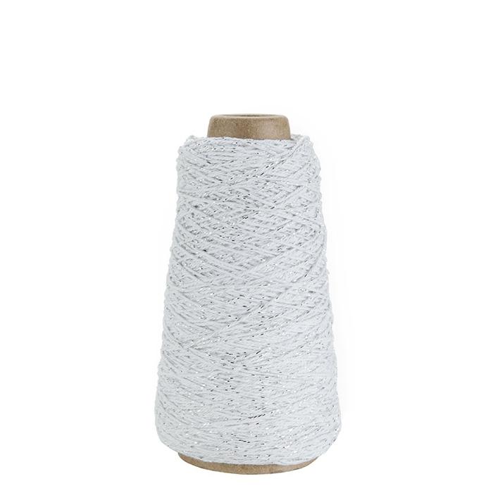 White skein with silver lurex 300m x2 mm