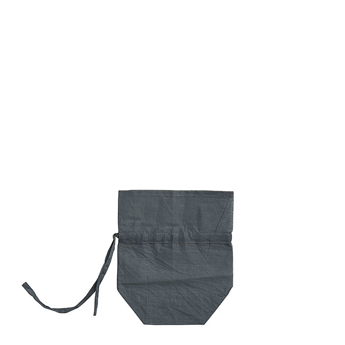 Cotton bag gray with lace h17 cm