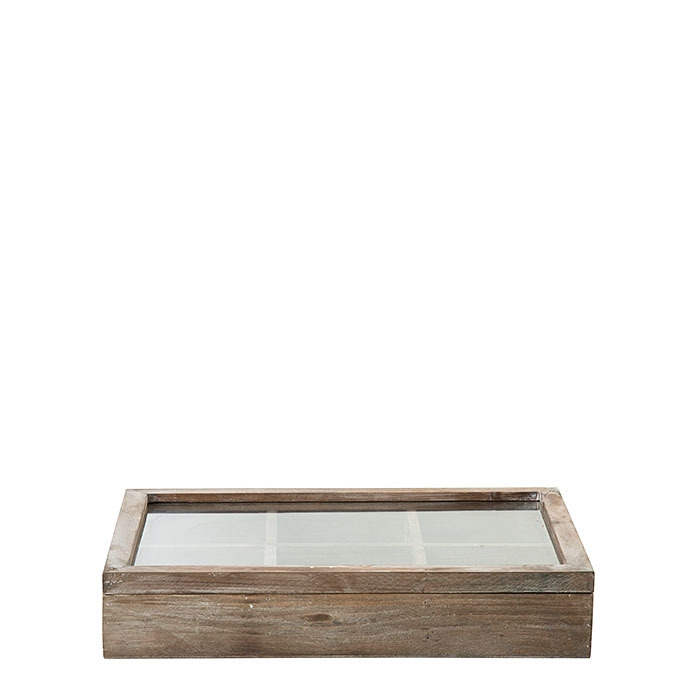 Wooden box 6 compartments with glass cover 38 x 25 h7 cm