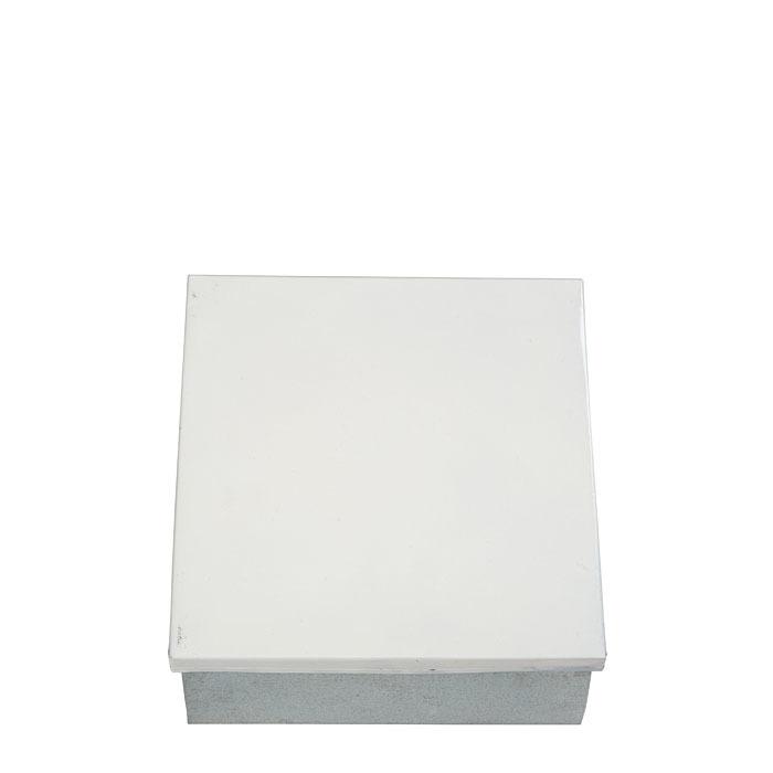 Tin white box 13 x 13 h3.5 cm
