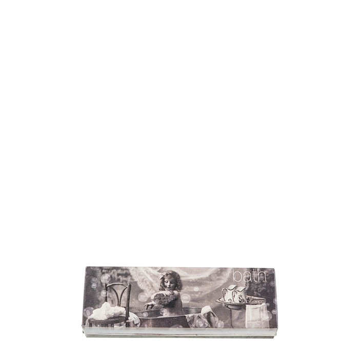 Box in latta con foto bimba nel bagno e scritta 7.5 x 23.5 h4 cm