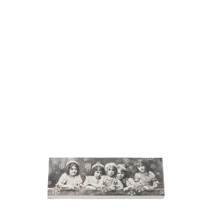 Tin box with five girls 7.5 x 23.5 h4 cm