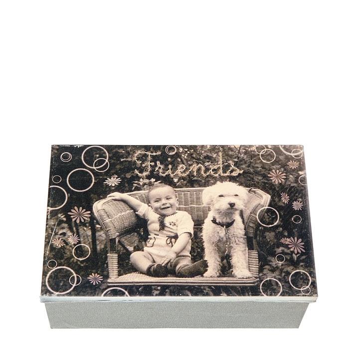 Box in latta con foto bimbo cane scritta friends 21 x 32 h12 cm