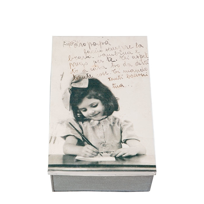 Tin box with little girl writing to her dad 21 x 32 h12 cm
